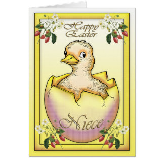 Easter for niece gifts t shirts art posters other gift ideas happy easter chick with egg for niece card negle Images
