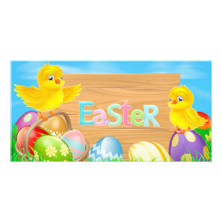 Happy Easter Chickens with colored eggs Photo Greeting Card