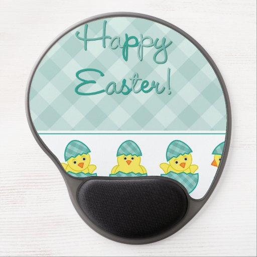 Happy Easter Chicks Green Gel Mouse Pads