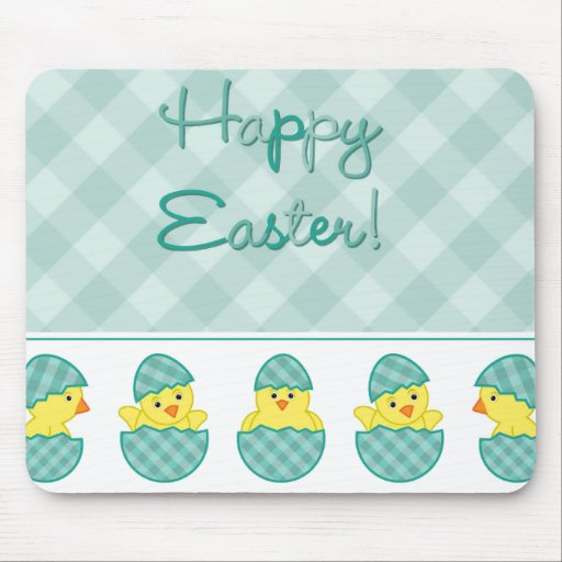 Happy Easter Chicks Green Mousepads