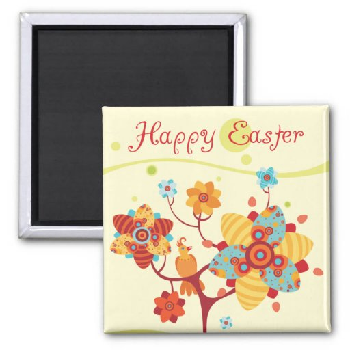 Happy Easter Chicks Square Magnet