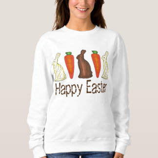 Happy Easter Chocolate Bunny and Carrot Sweatshirt