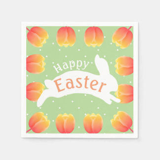 Happy Easter Colorful Tulips & Rabbit Disposable Serviette