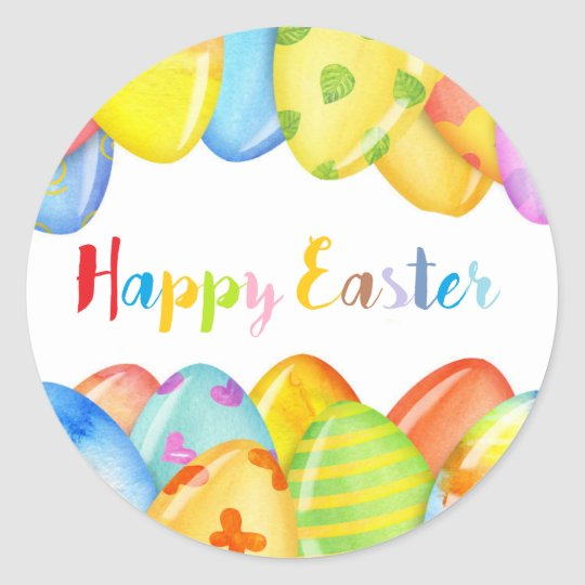 happy Easter colourful stickers