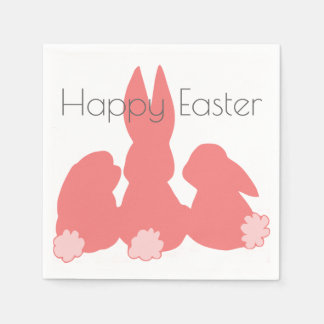 Happy Easter - Coral Easter Bunnies Paper Napkins Disposable Serviette