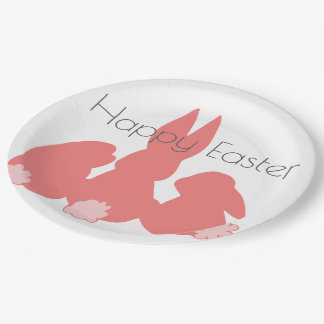 Happy Easter - Coral Easter Bunnies Paper Plates