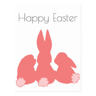 Happy Easter - Coral Easter Bunnies Postcard