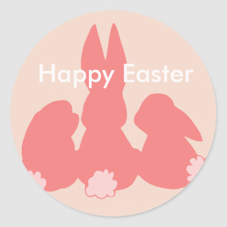 Happy Easter - Coral Easter Bunnies Round Sticker