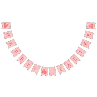 Happy Easter - Coral Gingham & Easter Bunnies Bunting
