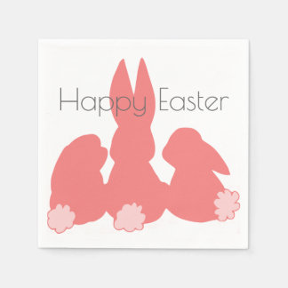 Happy Easter | Coral Pink Bunnies Paper Napkins Disposable Napkin