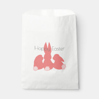 Happy Easter - Coral Pink Easter Bunnies Favor Bag