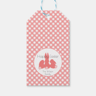 Happy Easter | Coral Plaid Custom Gift Tags