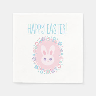 Happy Easter Cute Baby Bunny Rabbit Spring Floral Disposable Napkin