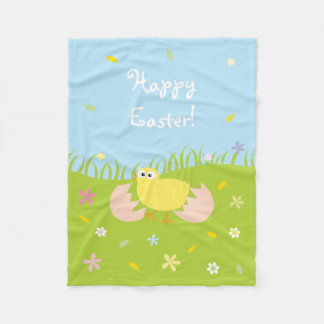 Happy Easter Cute Baby Chick Fleece Blanket