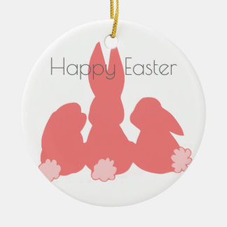 Happy Easter | Cute Bunnies Christmas Ornament