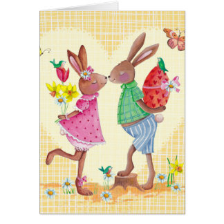Happy Easter Cute Bunnies | Easter Card