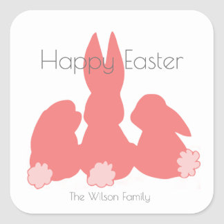 Happy Easter | Cute Bunnies | Personalized Sticker