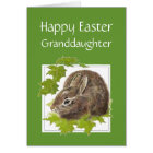 Happy Easter Cute Bunny Great Granddaughter Card
