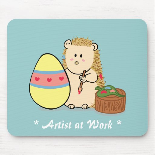 Happy Easter: Cute Hedgehog painting egg Mousepad