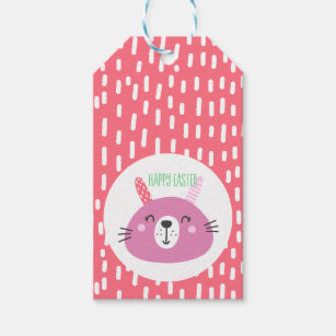 Easter bunny gift tags zazzle happy easter cute pink easter bunny gift tags negle Image collections