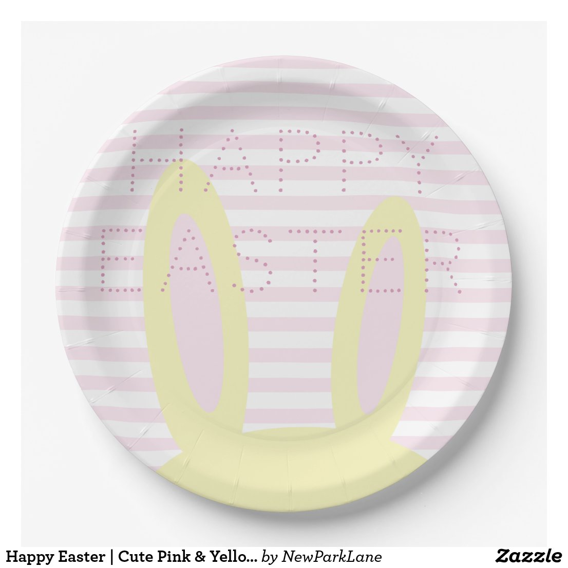 Happy Easter | Cute Pink & Yellow Bunny Ears Paper Plate