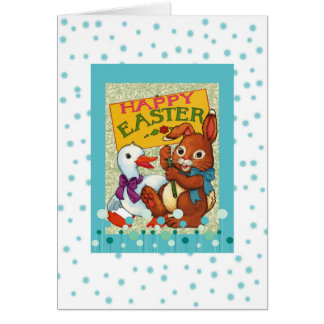 Happy Easter Cute Vintage Duck and Bunny Greeting Card
