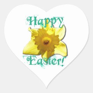 Happy Easter, Daffodil 01.2.2.T Heart Sticker