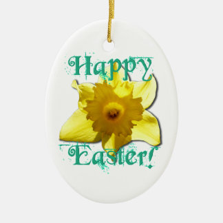 Happy Easter, Daffodil 01.2.T Ceramic Oval Decoration