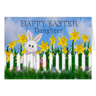 HAPPY EASTER - DAFFODILS AND BUNNY - DAUGHTER GREETING CARD