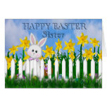 HAPPY EASTER - DAFFODILS AND BUNNY - SISTER GREETING CARD