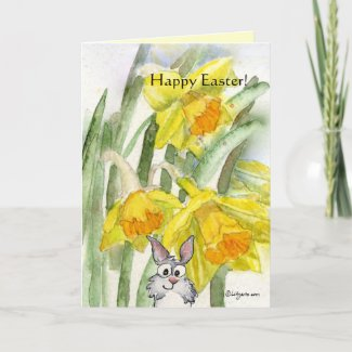 Happy Easter Daffodils Rabbit Card