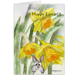 Happy Easter Daffodils Rabbit Card