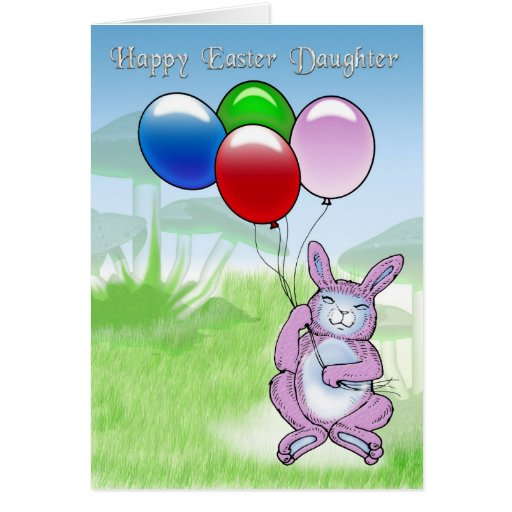 Happy Easter Daughter with rabbit and balloons Cards