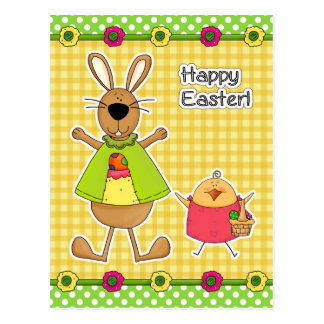 Happy Easter.Easter Bunny and Chick Postcards
