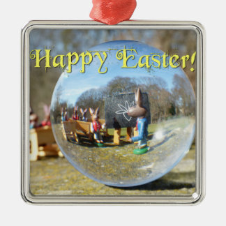 Happy Easter! Easter Bunny school 02.0.T Silver-Colored Square Decoration