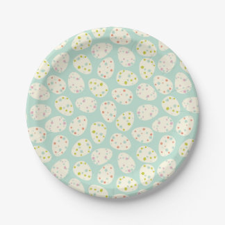 Happy Easter | Easter Egg Pattern With Flowers Paper Plate