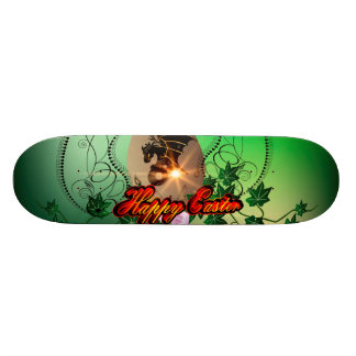 Happy easter, easter egg with funny dragon skate deck