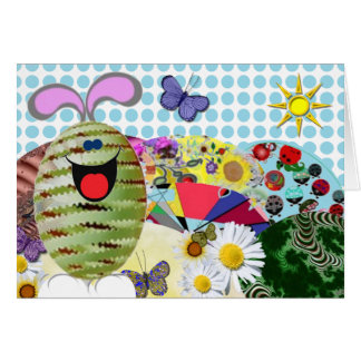 Happy Easter Egg Bunny and eggs Greeting Card