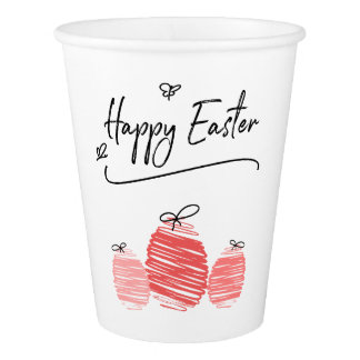 Happy Easter Egg Doodle Paper Cup