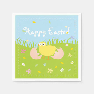 Happy Easter Egg Hunt Party Cute Baby Chick Disposable Napkins