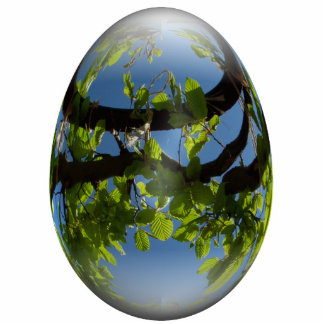 happy easter egg young leaves photo sculpture decoration