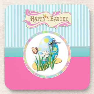 Happy Easter Eggs and Butterflies on Blue Stripes Coasters