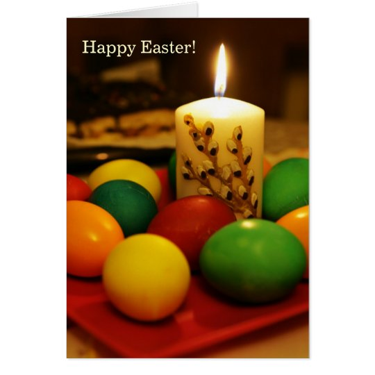 Happy Easter (eggs and candle) Card