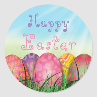 Happy Easter Eggs Grass Spring Sticker