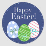 Happy Easter Eggs Round Stickers
