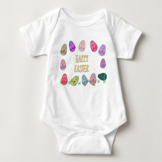 Happy Easter Eggs with Faces Baby Bodysuit