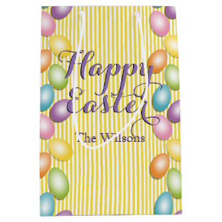 Happy Easter Eggs with Family or Business Name Medium Gift Bag