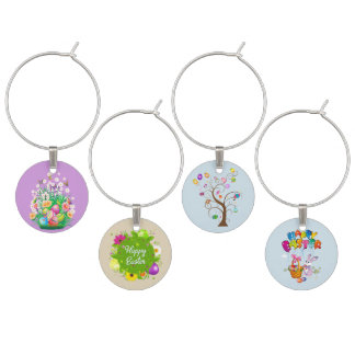 Happy Easter floral and Bunnies background Wine Charm