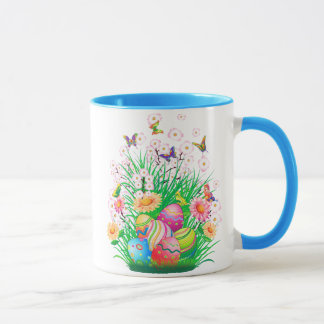 Happy Easter floral and Butterflies Mug