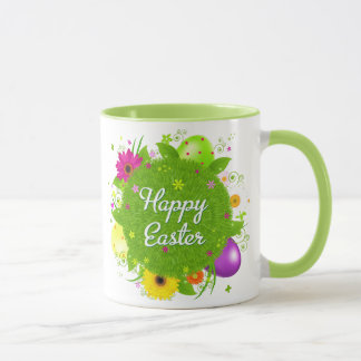 Happy Easter floral and text background Mug
